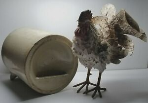 Antique Late 1800 S Eureka Poultry Drinking Fountain Stoneware Chicken Waterer
