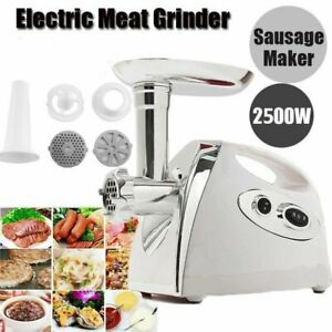 Heavy Duty 2500w Electric Meat Grinder Sausage Stuffer 4 Cutting Plates To