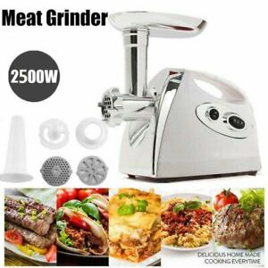 Electric Meat Grinder Kitchen Food Sausage Mincer 2 Speed 4blades 2500w White To