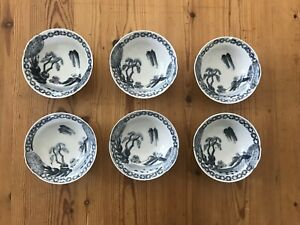 6 Signed Chinese Blue White Porcelain Tea Soup Rice Bowl Set Export Bowls