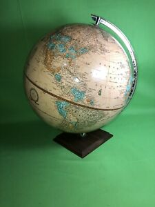 Vintage Cram S Imperial World Globe 12 Wood Base Collectible