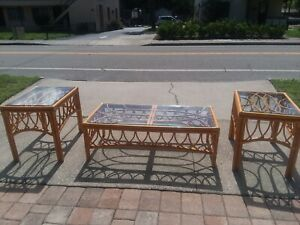Vintage Bent Bamboo Rattan Coffee Table End Tables