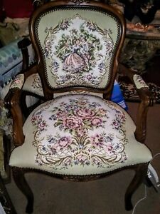Vintage Victorian Couple Tapestry Chair