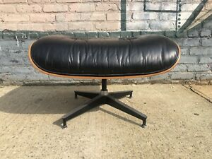 Vintage Signed Herman Miller Eames Rosewood Leather Lounge Chair Ottoman 671