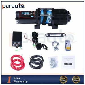 4500lbs Utv Atv Recovery Electric Winch Synthetic Rope Offroad 12v Waterproof