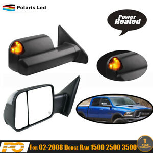 For 02 08 Dodge Ram Truck Pickup Power Heated Turn Signal Towing Side Mirrors