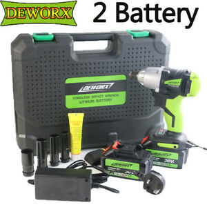 Powerful Electric Wrench Cordless Drive Impact Wrench Tools 6000mah 2 Batteries