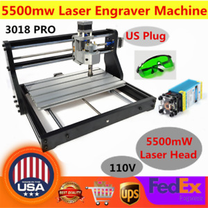 3 Axis Cnc 3018pro Router Milling Engraving 2in1 Machine 5500mw Laser er11 Us