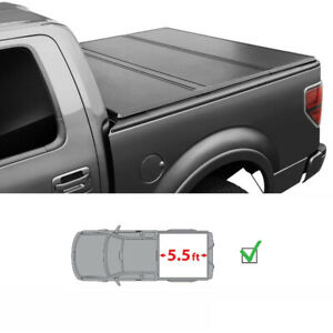 5 5ft Bed Hard Tri Fold Tonneau Cover Fit 2015 2019 Toyota Tundra Short Bed Blk