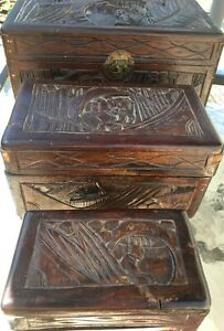 Antique Oriental Chinese Carved Wood Chest Stationary Jewelry Trinket 3 Pc Set
