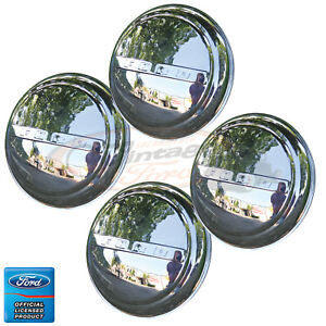 1947 1960 Ford Truck Polished Stainless Hub Cap Set 4 Very Nice Quality