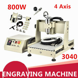 800w 4 Axis 3040 Cnc Router Engraver Ball Screw Woodworking Engraving Machine