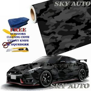 Black Gray Camo Camouflage Vinyl Car Wrap Film Sheet Free Tools