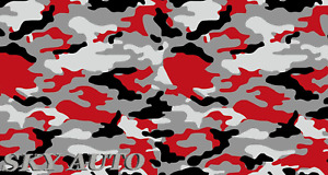 Red Black Gray White Large Camo Vinyl Car Wrap Sheet Free Tools 2 Feet Up