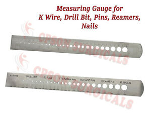 Orthopedic Measuring Gauge Scale For K wire Drill Bit Screw Reamers