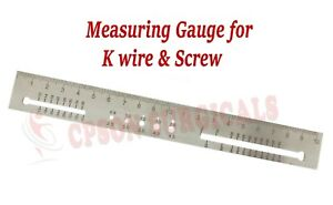 Orthopedic Measuring Gauge Scale For K wire And Screw Lot Of 2 Pcs Ss