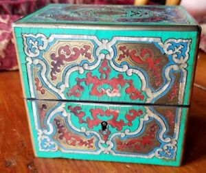 Antique Ornate Wood Tea Caddy With Mother Of Pearl Inlay And Paint With Lock