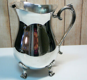 Vintage Signed Leonard Silver Plated Pitcher With Ice Guard