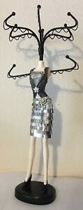 Glamorous Silver Sequin Mannequin Jewelry Tree Stand Display Holder 14