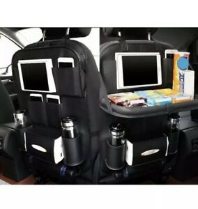 Car Back Seat Organizer Shelf Tray Storage Cup Ipad Phone Holder Pocket Beige