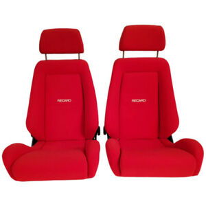 2 Jdm Recaro Lx Classic Red Reclinable Solid Headrest Racing Front Seats Car