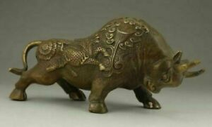Chinese Old Brass Handwork Carving Bullfight Cow Wear Dragon Lotus Statue