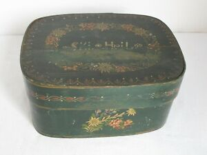 Antique Early Paint Decorated Brides Box