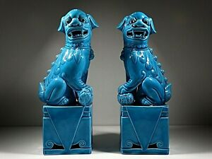 Antique Pair Turquoise Blue Glazed Chinese Foo Dog Statues