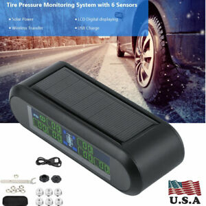 Wireless Solar Tpms Tire Pressure Monitoring System Lcd Monitor Alarm