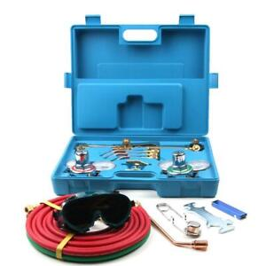 Gas Welding Cutting Welder Kit Oxy Acetylene Oxygen Torch With Hose Case