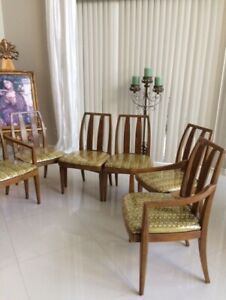 Vintage Antique Burl Drexel N C Six Mid Century Modern Wood 6 Dining Chairs