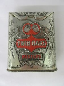 VINTAGE ADVERTISING TOBACCO TWIN OAKS ROLL TOP VERTICAL POCKET TIN M-135