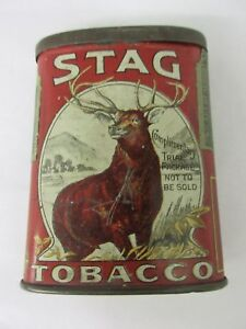 VINTAGE ADVERTISING TOBACCO STAG SMALL OVAL VERTICAL POCKET TIN   800-N