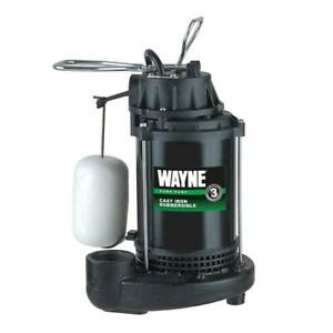 Wayne Quiet Submersible Sump Pump 1 3 Hp Water Cast Iron Vertical Float Switch