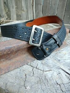 Tex Shoemaker N38 Black Basketweave Police Duty Belt 34 To 39 Walking Grimes