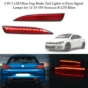 2x Red Led Foglight Tail Brake Lights W Sequential Signal For 11 15 Vw Scirocco