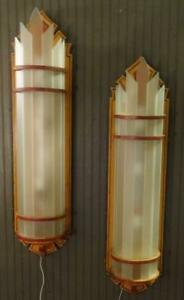 Fabulous Antique Wooden Glass Art Deco Painted Huge Theater Wall Sconces 2