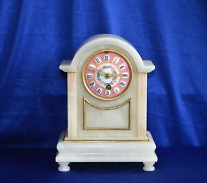 Antique French Victorian Alabaster Mantle Clock With Hand Painted Porcelain Dial