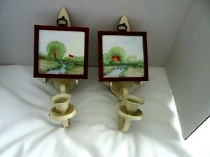 Vintage Candlestick Candle Sconces Wall Mount Pair They Hold A Picture See Photo