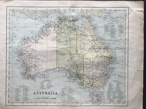 100 Original Map Of Australia C1868 Showing State Counties Color