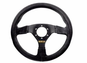 Black Suede Steering Wheel Horn Grip 39 Mm Dish Car Auto Sparco Sports Racing