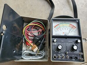 Vintage Triplett Model 4 Multimeter W Case And Leads And Paperwork Type 2 Works