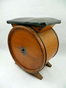 Antique 19th Century White Cedar Butter Churn Barrel Repurposed Into A Stool