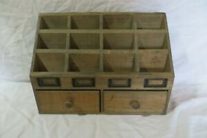 Vintage Look Desktop Wood 12 Compartment Organizer sorter W drawers