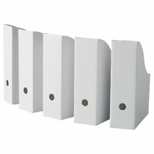 White Magazine File Holder Ikea Fluns Paper Book Storage Office Desk Organiser