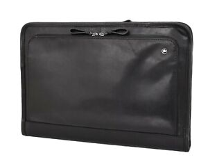 Black Leather Folio Bag Zip Meeting Bailiff Portfolio A4 Document Underarm Case