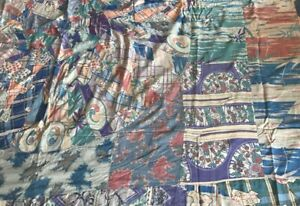 Antique Pure Silk Crazy Quilt Top Reversible Hand Sewn Textile 88 X85