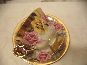 Royal Sealy China Light Pink Iridescent Lustertea Cup Saucer Set Japan
