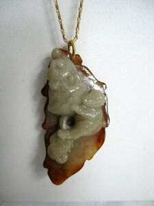 Antique Hand Carved Chinese White Jade Monkey King Peach Pendant Gold Chain