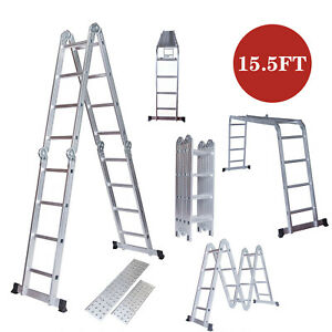 15 5ft Multi Purpose Telescoping Stair Ladder Extension Folding Aluminum Ladder